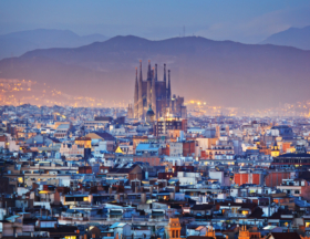 Barcelona cityscape at night