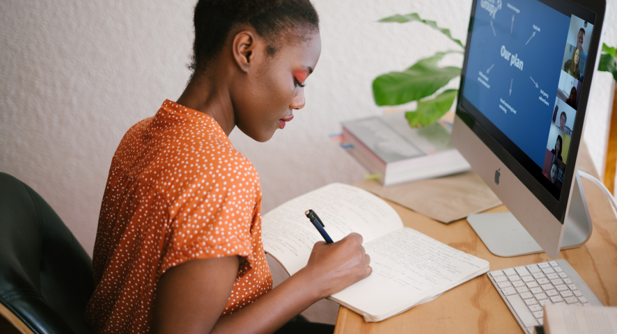 girl working at a computer