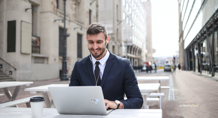 a young professional with his laptop