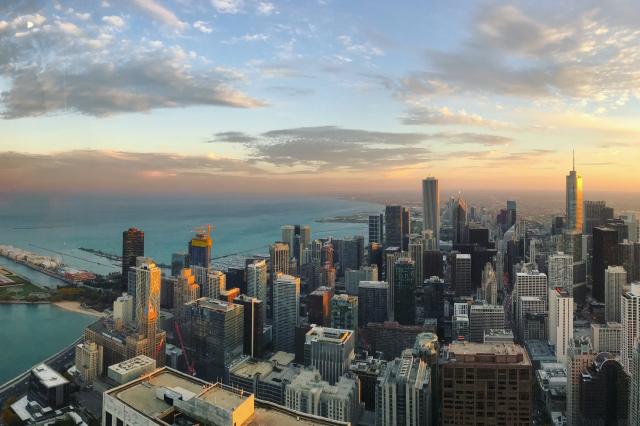 The Chicago skyline from above at sunset