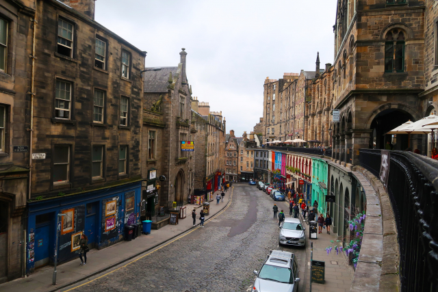a street lined with stone buildings in Scotland