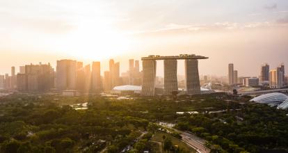 sunset over Singapore's skyline